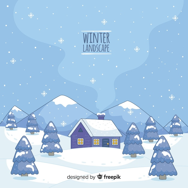 Cabin by the mountains winter landscape Free Vector