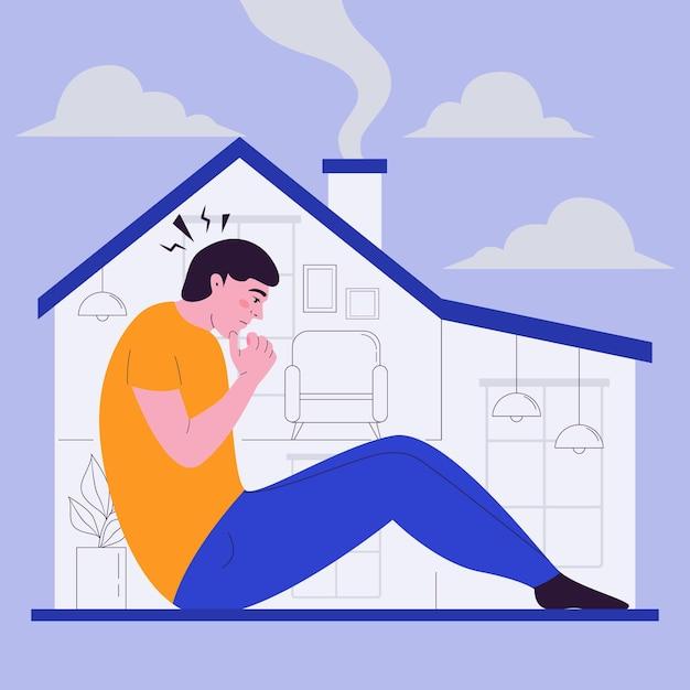 Лихорадка с человеком в доме Бесплатные векторы