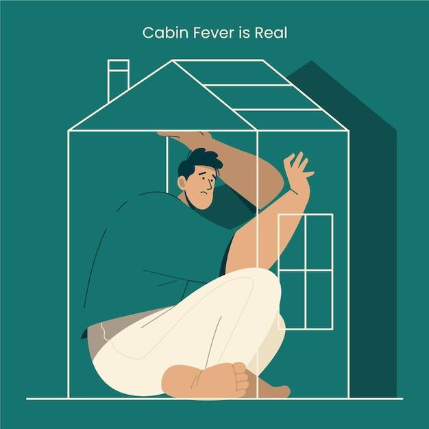 Cabin fever with man inside house Free Vector