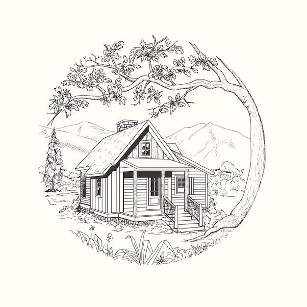 Cabin hand drawn Premium Vector