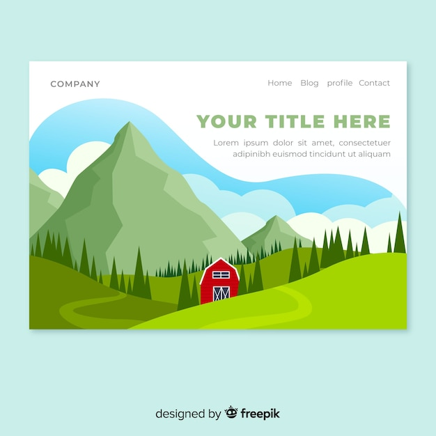 Cabin at the mountains landing page Free Vector