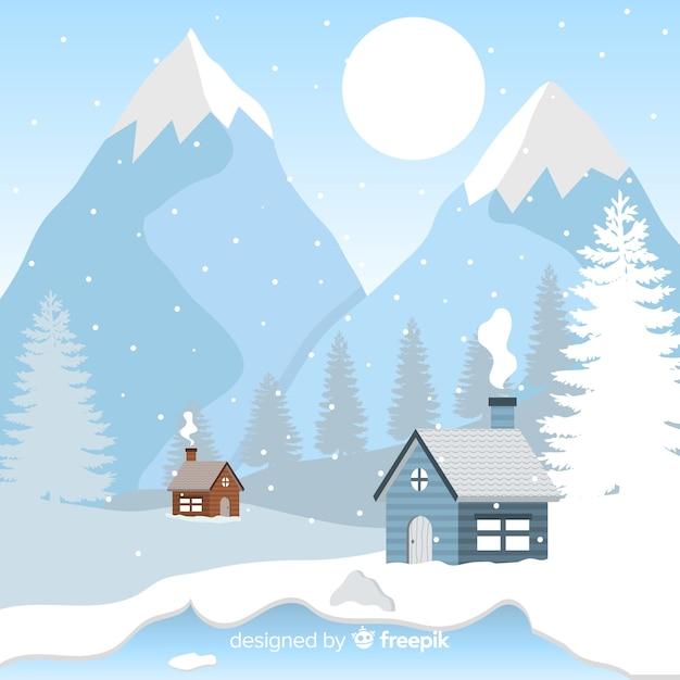 Cabine dall'illustrazione di inverno delle montagne Vettore gratuito