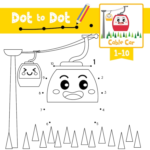 Cable car dot to dot game and coloring book Premium Vector