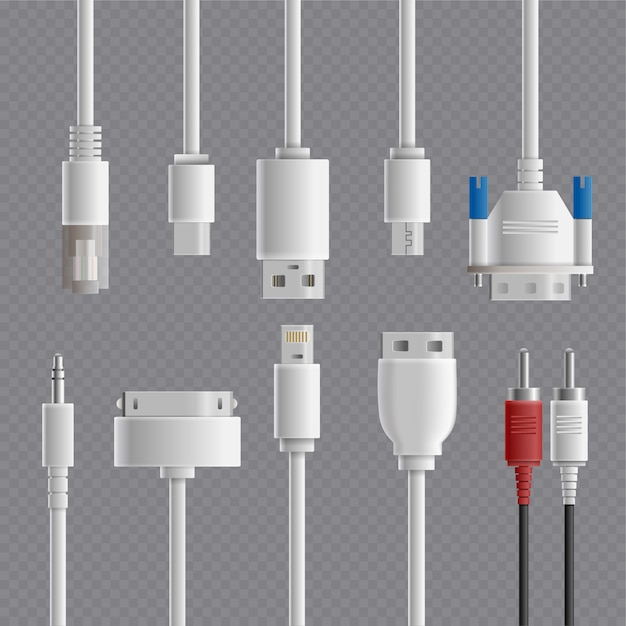 Cable connectors transparent set Free Vector