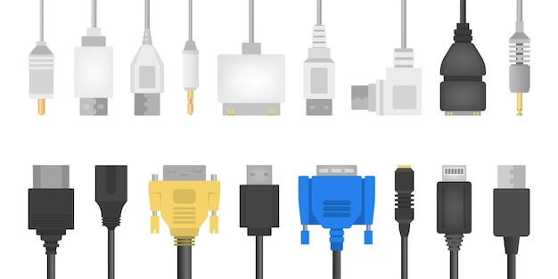 Cable wire set. collection of audio and video connector. computer technology.   illustration in  style Premium Vector