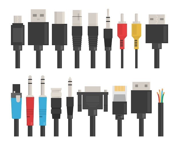 Cable wire set. usb for computer, connection device. Premium Vector