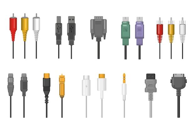 케이블 및 플러그 커넥터 세트. 이더넷, hdmi, vga, usb, 비디오, 오디오 포트를위한 유선 연결 무료 벡터