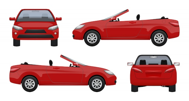 Cabriolet car, luxury vehicle super sports car business cab on road realistic Premium Vector