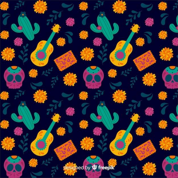 Cacti and guitar seamless dia de muertos pattern Free Vector