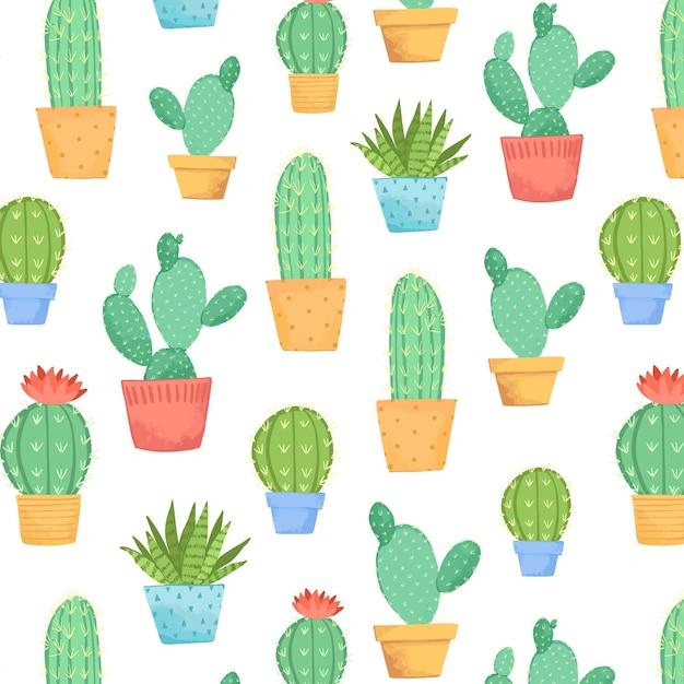 Collezione di cactus in vaso Vettore gratuito