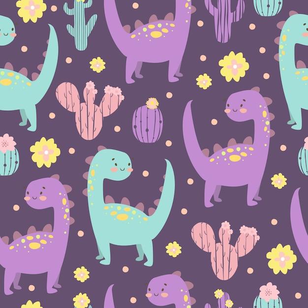 サボテンと恐竜のパターン 無料ベクター