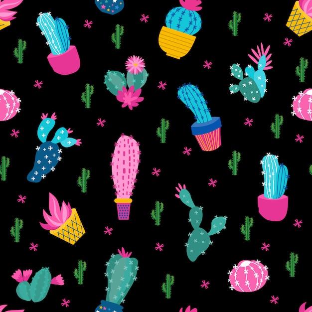 Cactus black background Premium Vector