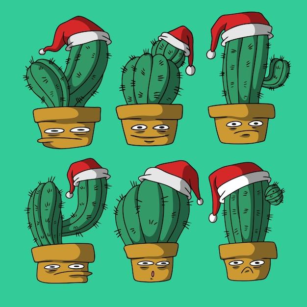 Cactus on christmas hand drawn Premium Vector