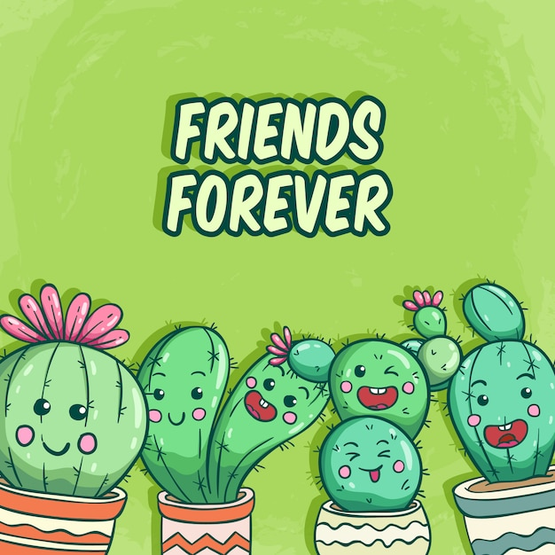 Cactus collection with funny face and friends forever lettering on green Premium Vector