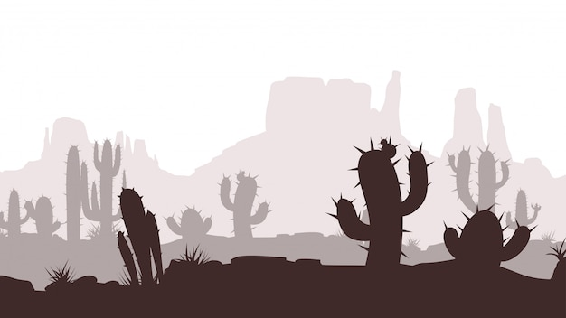 Cactus desert landscape Premium Vector