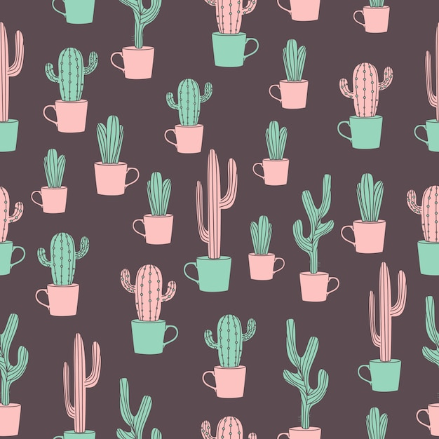 Cactus drawing seamless pattern with cute hand drawn Premium Vector