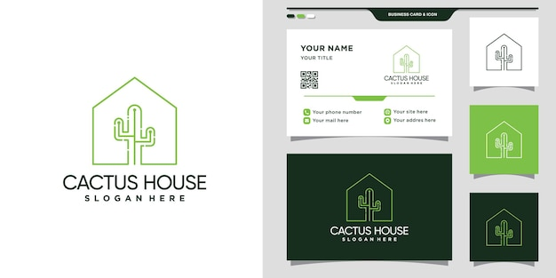 Cactus house logo with line art style and business card design. premium vector