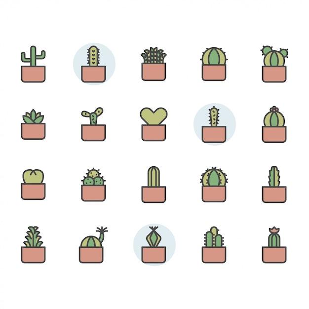 Cactus icon and symbol set Premium Vector