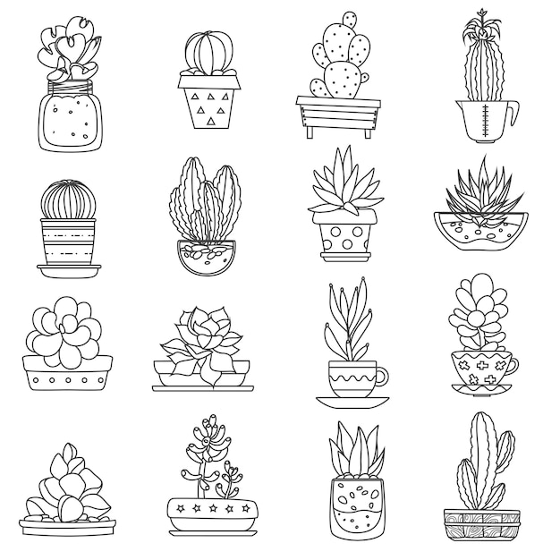 Cactus line icons set Free Vector