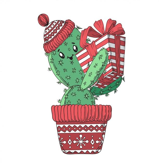 Cactus new year. Premium Vector