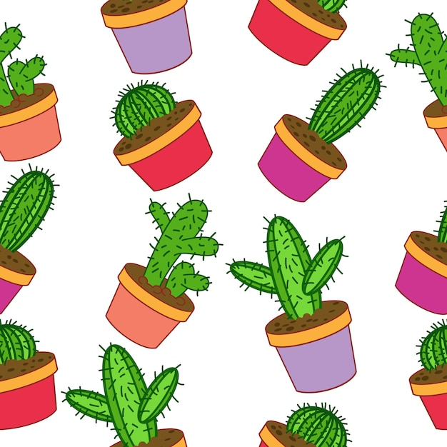 Cactus Pattern Background Vector Free Download