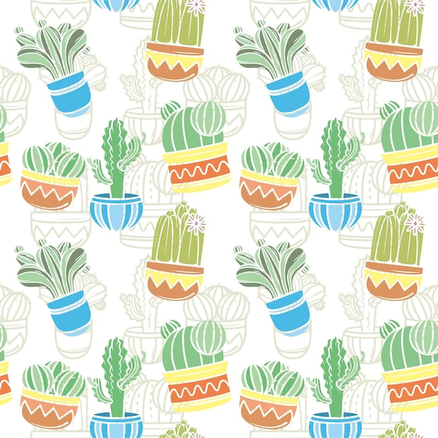 Cactus pattern collection concept Free Vector