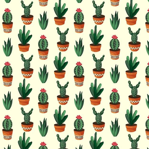 Concetto di raccolta del modello di cactus Vettore gratuito