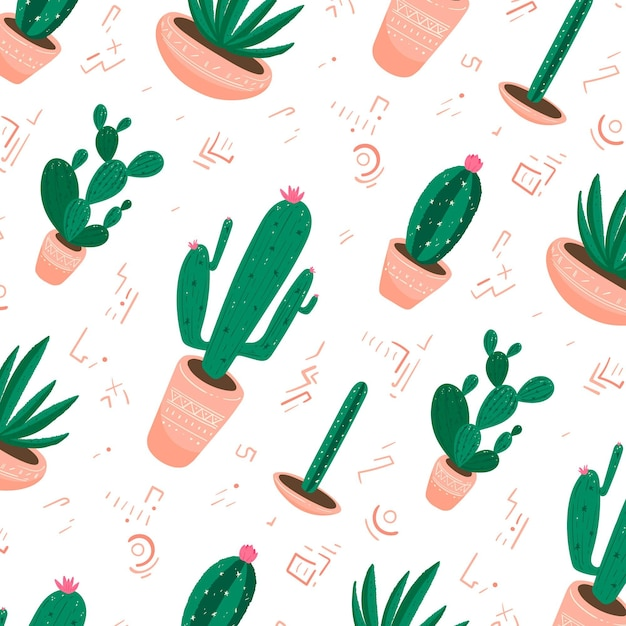 Cactus pattern collection design Free Vector