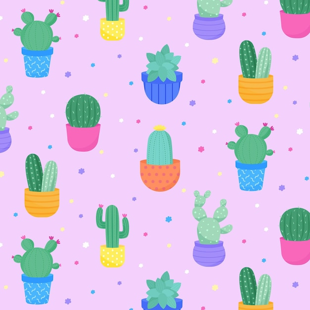 Cactus pattern collection theme Free Vector