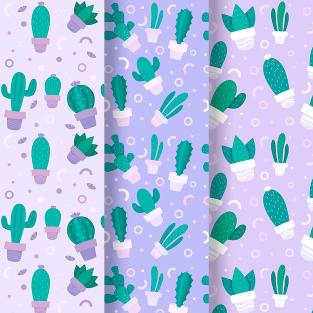 Cactuspattern collection Free Vector