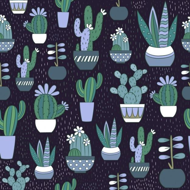 Cactus pattern design Free Vector