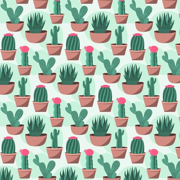 Tema del pacchetto modello cactus Vettore gratuito