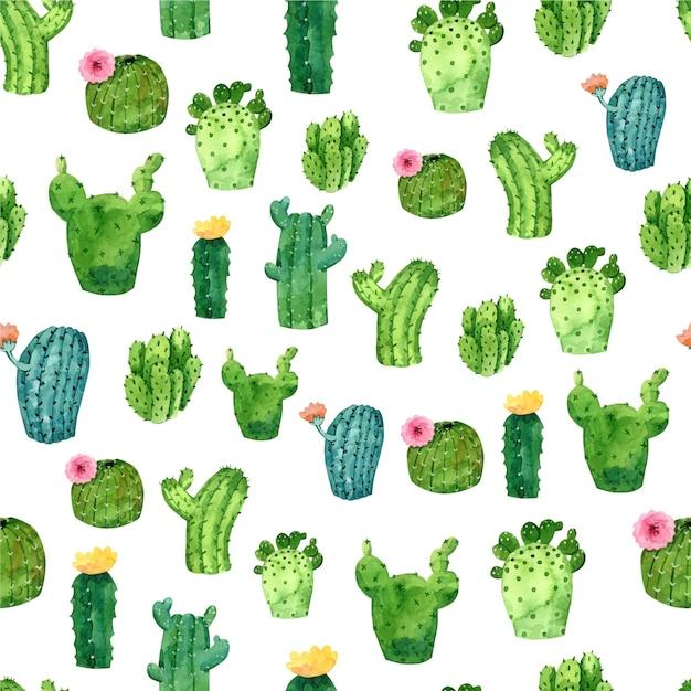 Cactus pattern watercolor style Premium Vector