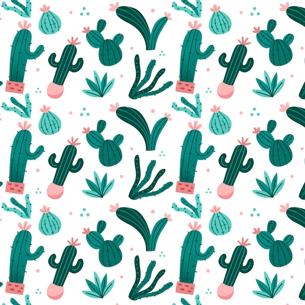 Cactus pattern Free Vector