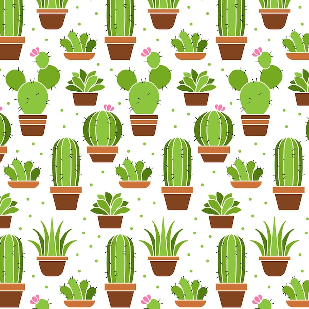 Коллекция шаблонов растений кактусов Бесплатные векторы