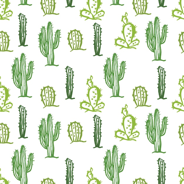 Cactus seamless color background Free Vector