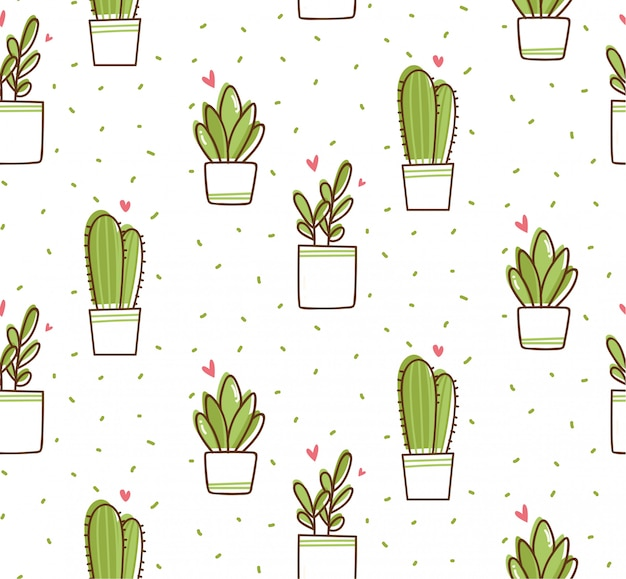Cactus seamless pattern in kawaii doodle style Premium Vector