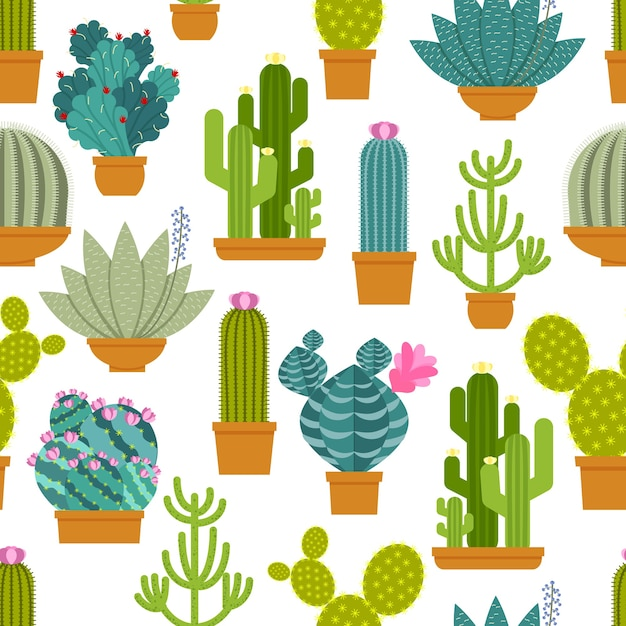 Cactus seamless pattern. Free Vector