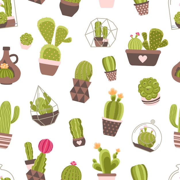 Cactus seamless pattern Free Vector