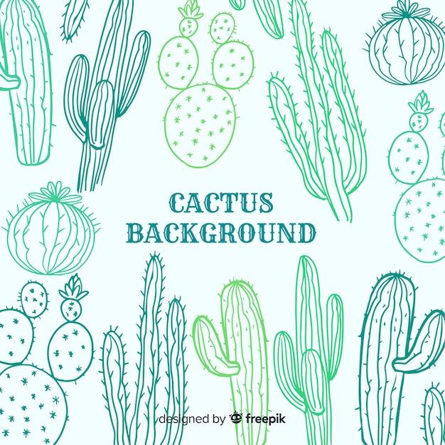 Cactus sketch background Free Vector