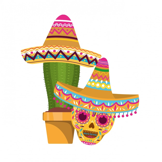 Cactus and skull with mexican hat icon Premium Vector