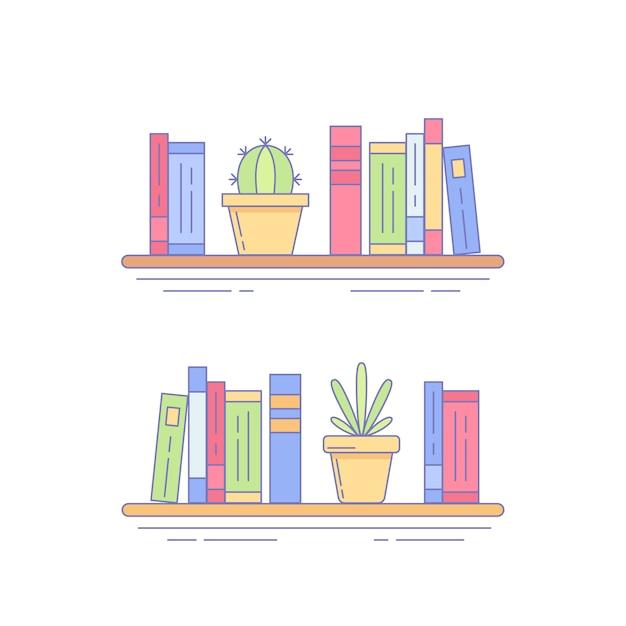 Cactus, succulent on bookshelf with books Premium Vector
