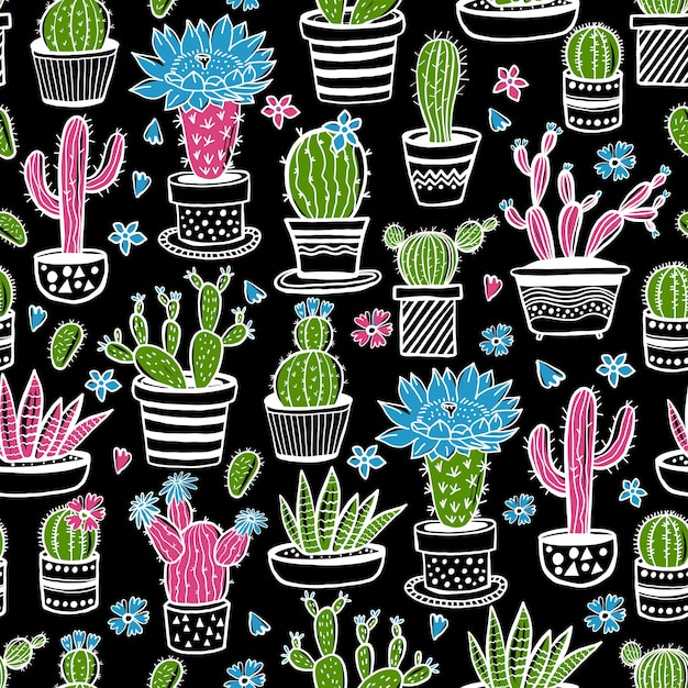 Cactus and succulent hand drawn seamless pattern in sketch style on black. doodle colors flowers in pots.  colorful cute house interior plants. Premium Vector
