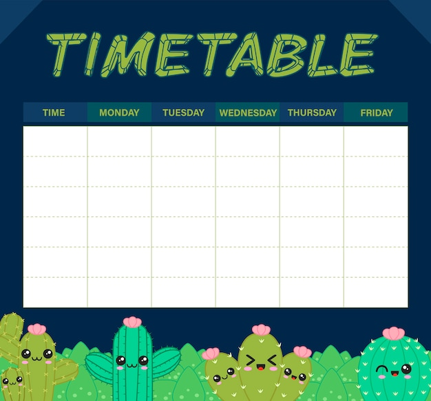 Cactus timetable or weekly planner Premium Vector