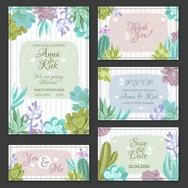 Cactus wedding cards set Free Vector