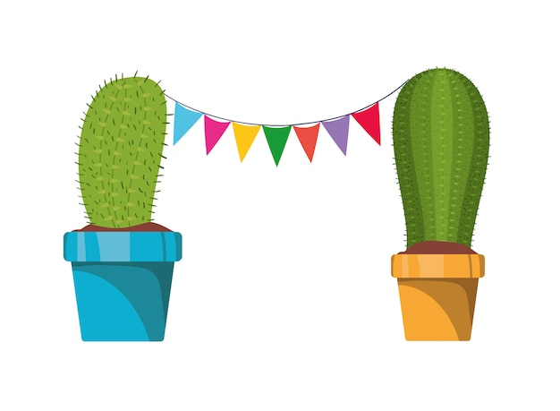 Cactus with garland hanging isolated icon Premium Vector