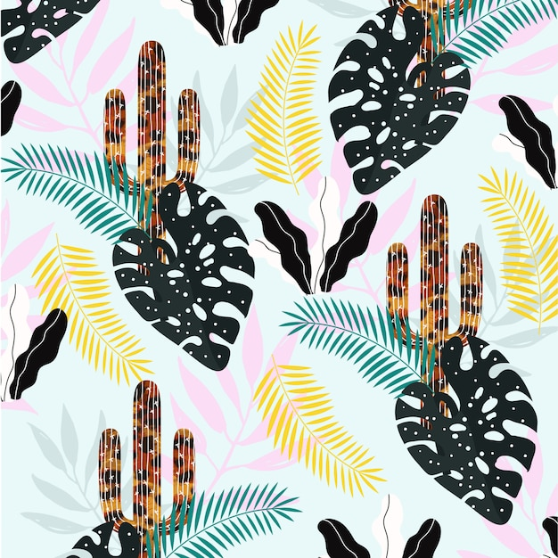 Cactus with leaves pattern Premium Vector