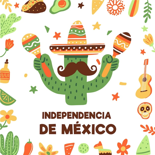 Cactus with maracasinternational day of mexico Free Vector