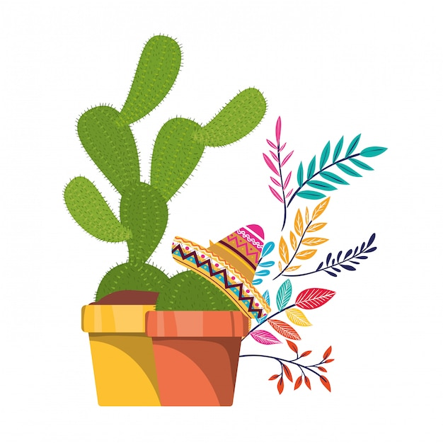 Cactus with pot and mexican hat icon Premium Vector