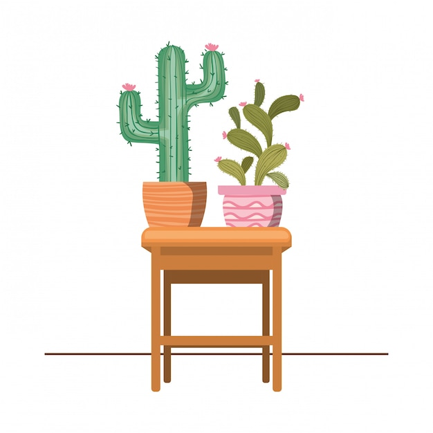 Cactus with potted on the table icon Premium Vector